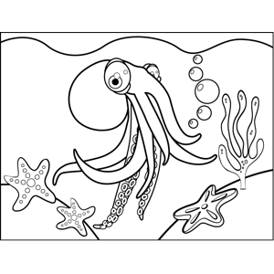 Curious Octopus coloring page