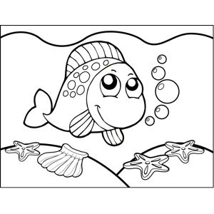 Curious Spotted Fish coloring page