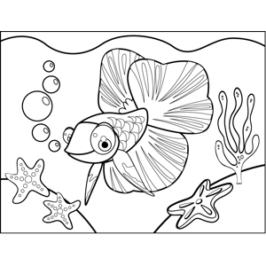 Cute Fish Big Fins coloring page