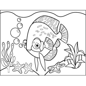 Cute Fish Striped Fins coloring page
