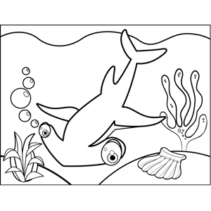 Cute Hammerhead Shark coloring page