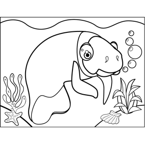 Cute Manatee coloring page