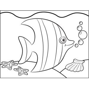 Cute Tropical Fish Coloring Page