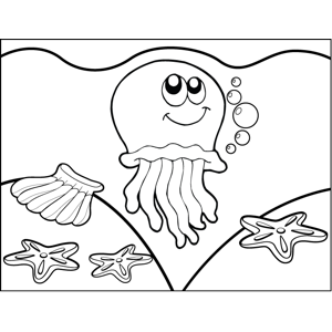 Daydreaming Jellyfish coloring page
