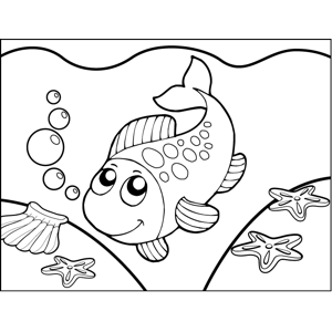Diving Spotted Fish coloring page