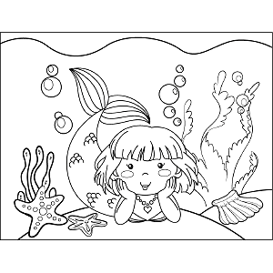 Dreaming Mermaid coloring page