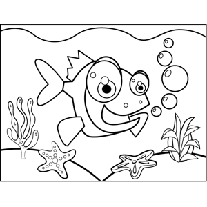 Excitable Fish coloring page