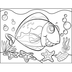 Excited Fish coloring page