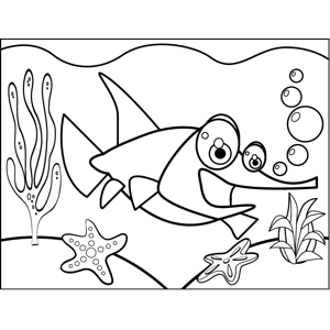 Excited Swordfish coloring page