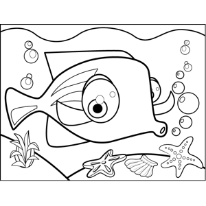 Fascinated Fish coloring page
