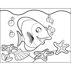 Fish Bubbles coloring page
