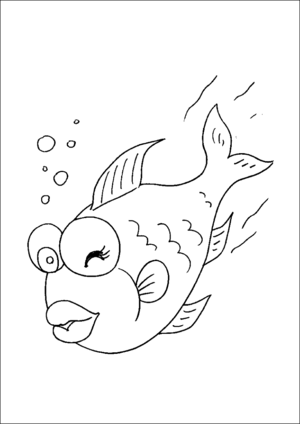 Fish Swimming And Winking coloring page