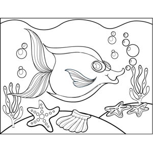 Fish and Sea Stars coloring page