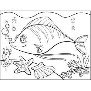 Fish on Ocean Floor coloring page