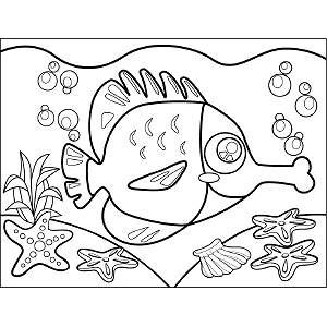 Fish with Puckered Lips coloring page
