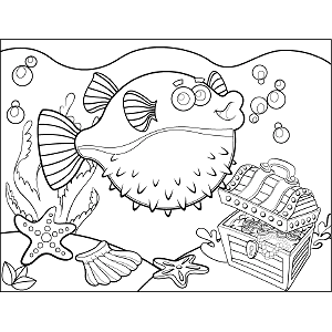 Fugu Bubbles coloring page