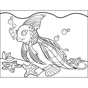 Goldfish Bubbles coloring page