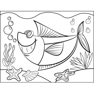 Grinning Fish coloring page
