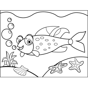 Grinning Spotted Fish coloring page