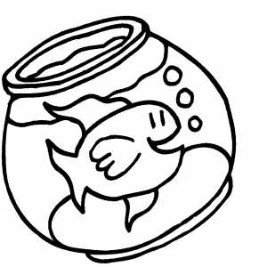 Happy Goldfish In Bowl coloring page