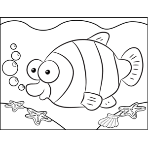 Happy Striped Fish coloring page
