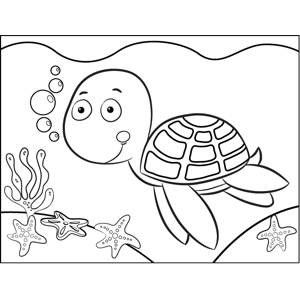 Happy Turtle coloring page