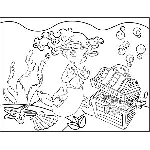 Mermaid Bubbles coloring page