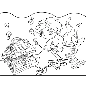 Merman Bubbles coloring page