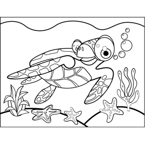 Playful Turtle coloring page