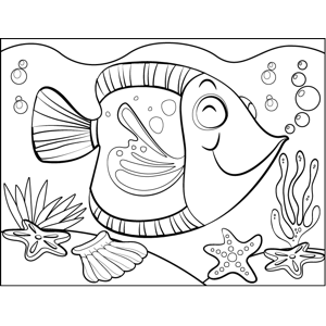 Satisfied Fish coloring page