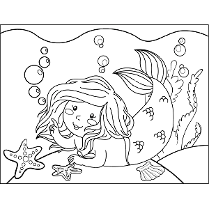 Smiling Mermaid coloring page
