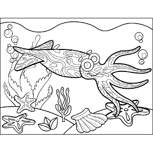 Squid Bubbles coloring page