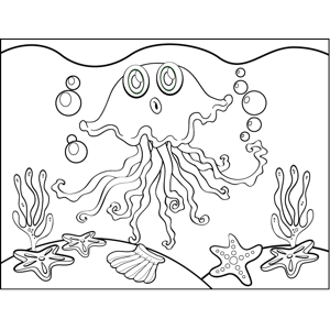 Surprised Jellyfish coloring page
