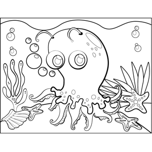Surprised Octopus coloring page