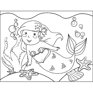 Swimming Mermaid coloring page