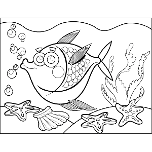 Tropical Fish Bubbles coloring page