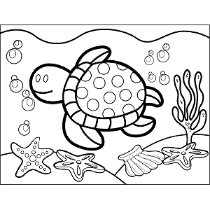 Turtle Swimming coloring page