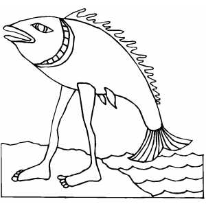 Walking Fish coloring page