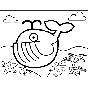 Whale Spouting coloring page
