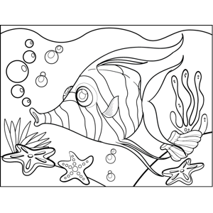 Zebra Fish Blowing Bubbles coloring page