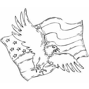 Eagle And Flag coloring page