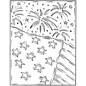 Firework And Flag coloring page