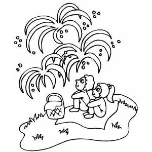Girls Watching Fireworks coloring page
