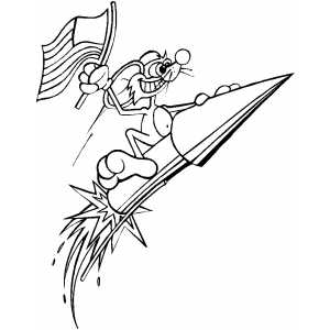 Mouse On Rocket coloring page