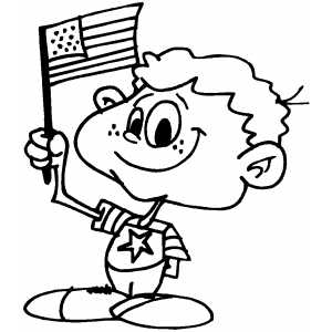 Patriotic Boy With Flag coloring page