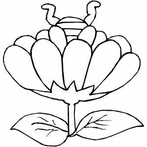 Bee In Flower coloring page