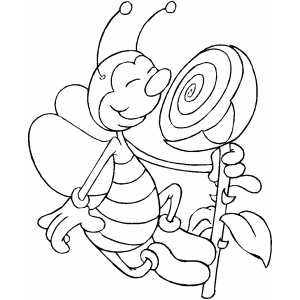 Bee Smelling Flower coloring page