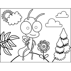 Bug with Flower coloring page