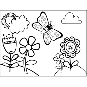 Butterfly in Flowers coloring page