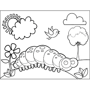 Centipede Sunny Day Coloring Page
